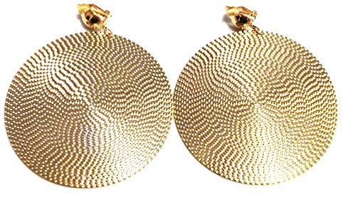 Clip-on Earrings Large Circle Hoop Earrings Gold or Silver tone 3.5 inch (gold)