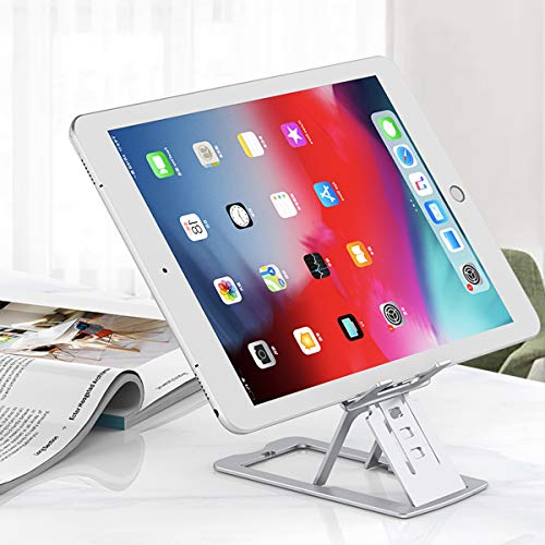 Aluminum Cell Phone Stand Compatible for All Smartphones, Switch, iPhone, iPad, Adjustable Angle Height Phone Stand Desk (Sliver)