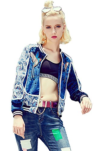 R.Vivimos Women Autumn Embroidered Bomber Jacket Small - Embroidered Jacket Bolero
