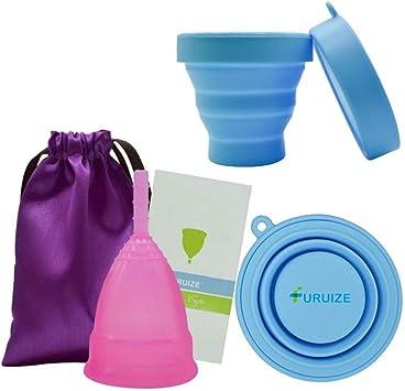 Copa Menstrual con Esterilizador Plegable Furuize Active. Fortalece el suelo pélvico. Previene cistitis y cólicos menstruales. Silicona suave de grado ...