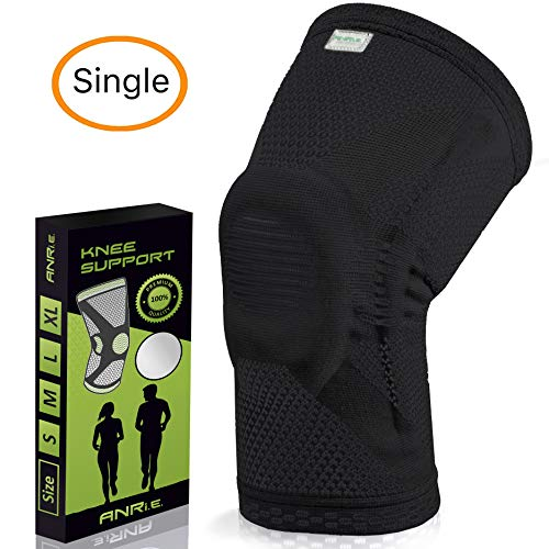 ANRI.E. Knee Brace with Silicone Pad and Elastic Metal Side Bars - Compression Sleeve for Running, Weightlifting, Powerlifting, Volleyball - Check The Size Chart - Size S, M, L, XL