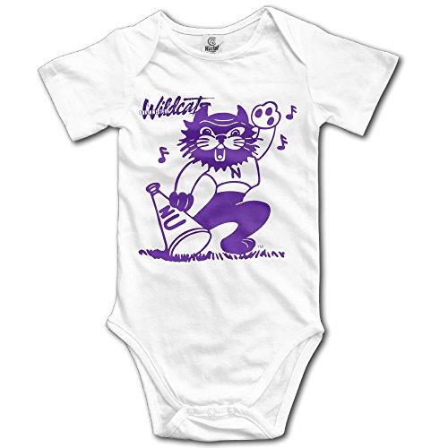 University Northwestern Wildcats Logo Baby Girls White Romper Bodysuit