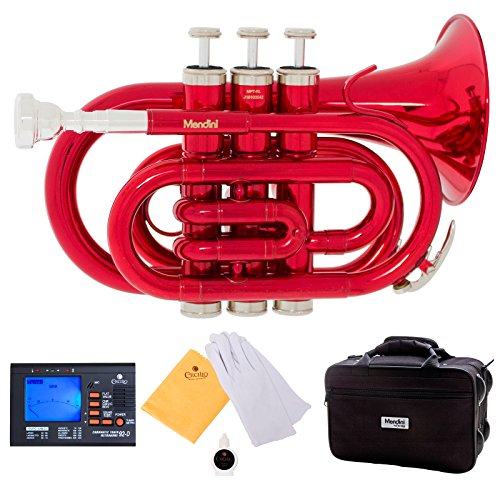 Mendini MPT-RL Red Lacquer Brass Bb Pocket Trumpet with One-Year Warranty, Tuner, Mouthpiece and Deluxe Case by Mendini by Cecilio
