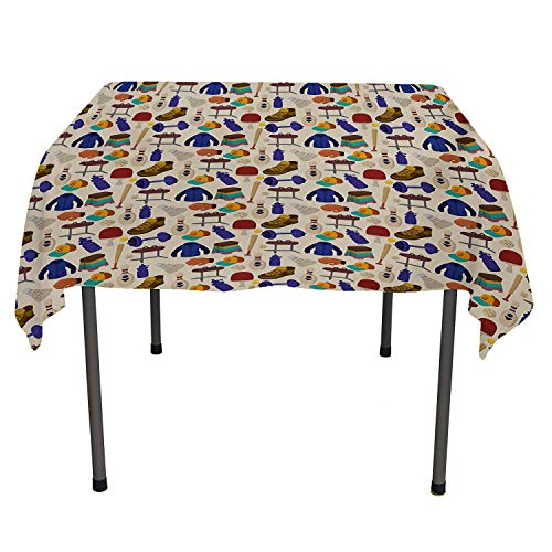 All of better Sport Kitchen Tablecloth Competitive Activities Goods Pattern Weights Coats Bowling Pins Ping Pong Gymnastic Multicolor Table Cloth for Kitchen Spring/Summer/Party/Picnic 70 by 70