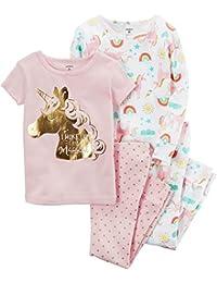 Carter's Girls' 12 Months-12 4 Piece Unicorn Pajama And Rainbow PJ Set