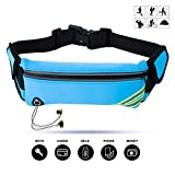 Cheap Running Belt, VERIYA Waterproof Fitness Belt Lightweight Waistpack Bumbag Fanny Pack with Headphone Hole,Soft Sweat-proof Fabric and Adjustable Elastic Strap,suit for 5.5″ smartphoe Money Coins (Blue)