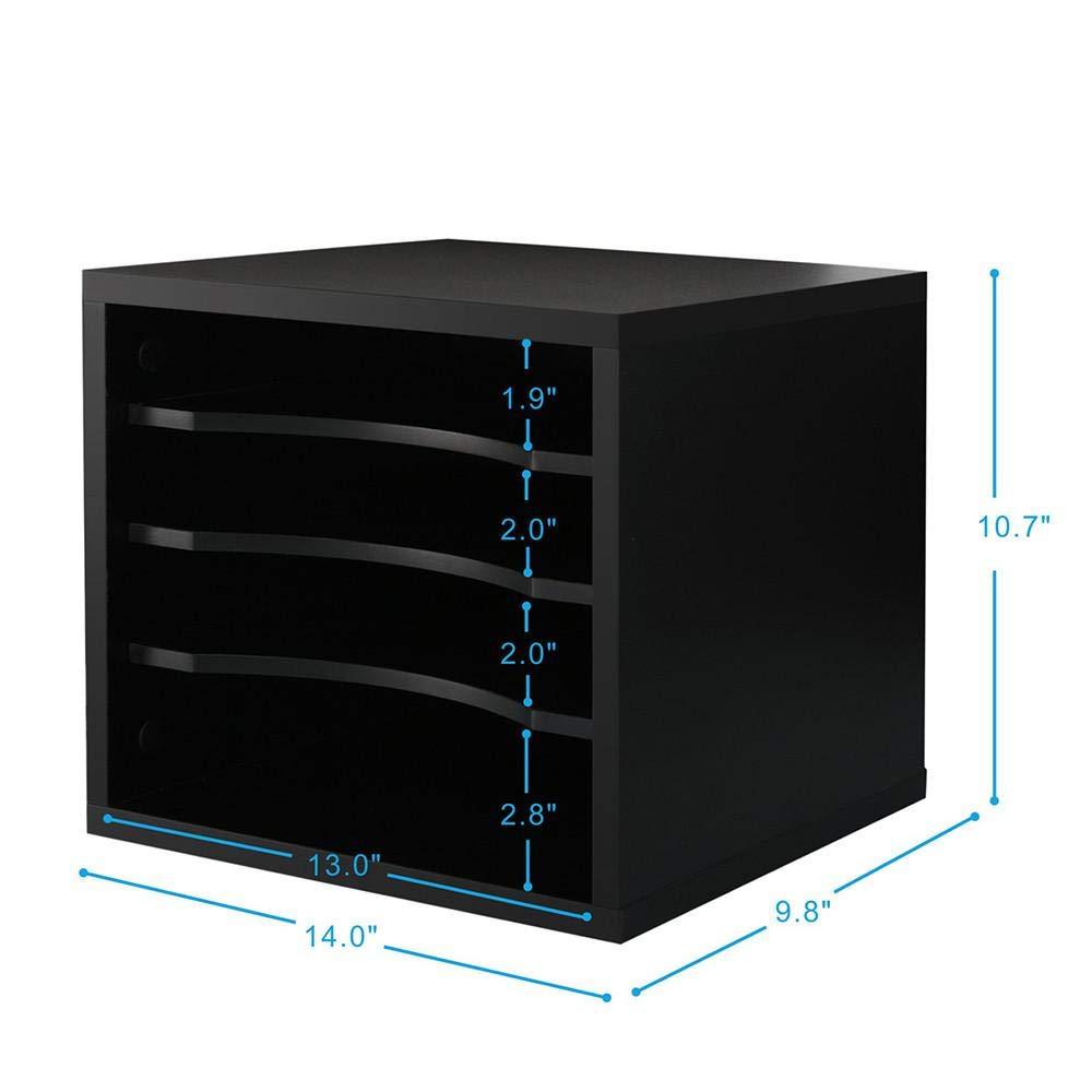 Fitueyes Wood Desk Organizer Workspace Organizers Desktop File Literature Sorter Black DO403501WB FBA_DO403501WB