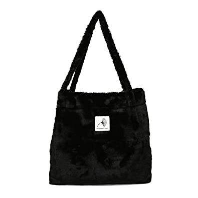 40e948dde9f4 Amazon.com  Marchome Faux Fur Shoulder Bag for Women Large Ladies Satchel Handbag  for Winter Black  Shoes