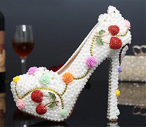 Club D'Honneur Rhinestoneshoes Wedding Hauts qualité MNII 3d Bride Femmes Stiletto Demoiselle color Bling Talons Couleur Party bonne Perle Fleurs O8gOv