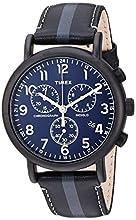 Timex Men's TWF3C8400 Weekender Chrono Black/Gray Stripe/Blue Two-Piece Leather Strap Watch