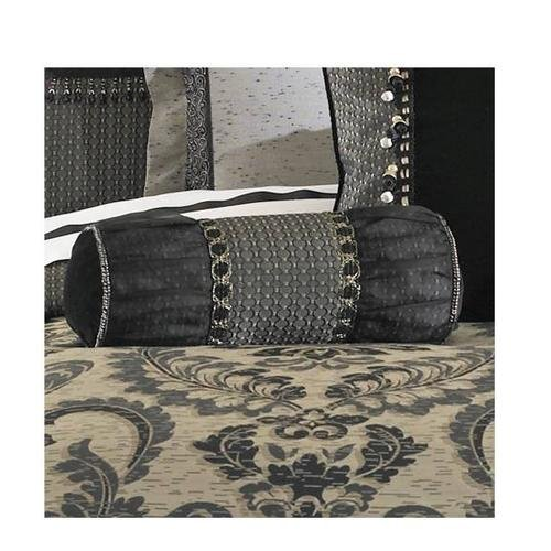 Waterford Linens Ormonde Collection Neckroll Accent Pillow in Black and (Collection Neckroll Bed Pillow)