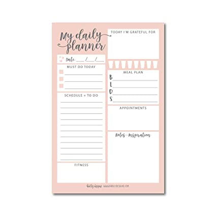 f1477bc46c230 Pink Undated Daily Task Planner To do List Pad, School Family Life Work  Personal Productivity Notepad, Day Schedule Organizer, Cute Gift Idea,  Water ...