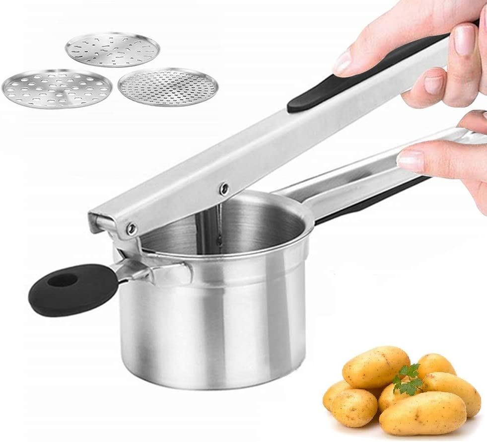 Potato Ricer Set with 3 Interchangeable Discs (Fine, Medium, Coarse) and Grip Handle Stainless Steel Potato Masher Large Capacity Fruit Masher Juicer Vegetable Strainer Manual Kitchen Gadget
