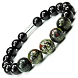 ONE ION Camo Nero Power Bracelet - Tourmaline and Dragon Blood Jasper - Magnetic Clasps (9 Inches)