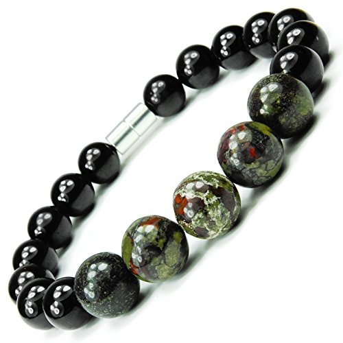 ONE ION Camo Nero Power Bracelet - Tourmaline and Dragon Blood Jasper - Magnetic Clasps (7 Inches) by ONE ION