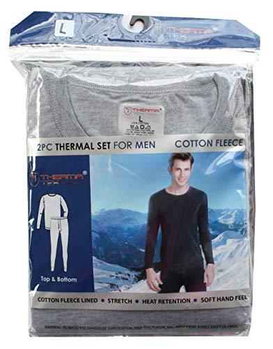 (2PC/Set Men's Thermal Top Bottom Cotton Fleece Crewneck Light Grey L)