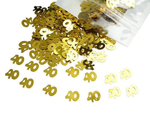 40th Anniversary Party Invitations (Gold Number 40 40th Anniversary Or Birthday Table Sequins Confetti for DIY Crafts And Party Supplies 1 Ounce by ZXSWEET)