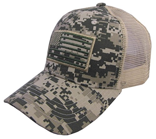 USA Flag Patch Tactical Style Mesh Trucker Baseball Cap Hat Multicam ()