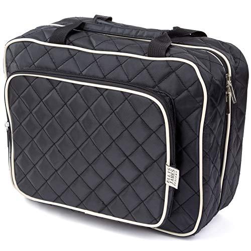 Ellis James Designs Large Travel Toiletry Bag for Women with Hanging Hook, Black, Big Wash Bags – Hair Dryer Case – Multi-use Toiletries Kit Cosmetics Makeup XL Bathroom Organizer Suitcase Luggage