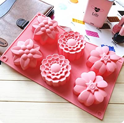 Peicees 6 Cavity Silicone Flowers Soap Mold Muffin Cups Handmade Soap Molds Cupcake Backing mold pan silicone Moulds (Flowers)