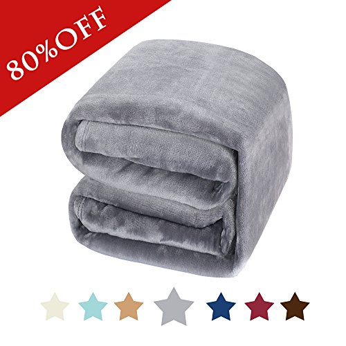Twin Fleece - H.Versailtex Twin Flannel Fleece Thermal Blanket Grey - Extra Soft Fine Fabric, Super Warm Bed Blanket, Lightweight Couch Blanket, Easy Care (Size: 90 inch by 66 inch)