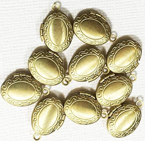 10 pcs of Solid Brass Oval Locket Pendant 11x16mm