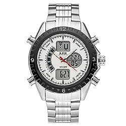 Top Plaza Men's Fashion Multifunction LCD Digital Electronic Sports Watch Luminous Waterproof Analog Quartz Watch,Double Movement,Alarm Clock,12/24 Hours(White Dial Silver Band)