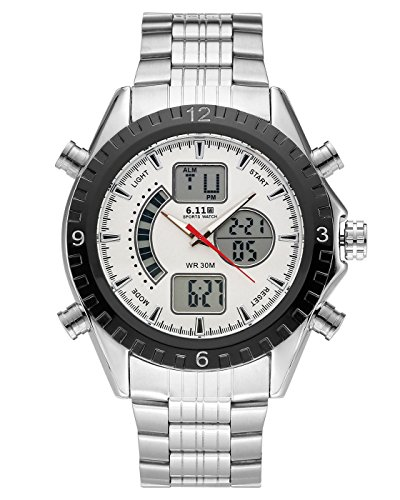 Top Plaza Men's Fashion Multifunction LCD Digital Electronic Sports Watch Luminous Waterproof Analog Quartz Watch,Double Movement,Alarm Clock,12/24 Hours(White Dial Silver - White Dial Mens Analog Digital