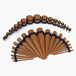 36 Pieces Gauges Kit Chocolate Acrylic Tapers with Chocolate Acrylic Plugs Stretching Kit - 18 Pairs