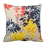 YaYa cafe Printed Yellow Floral Flower throw cushions pillow covers 16x16 inches for Home decor Sofa Chair bedroom living Room - Set of 1