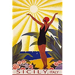 "SUNSHINE SICILY ITALY BEACH GIRL WELCOMING THE SUN SAILING TRAVEL 12"" X 16"" VINTAGE POSTER REPRO MATTE PAPER WE HAVE OTHER SIZES"