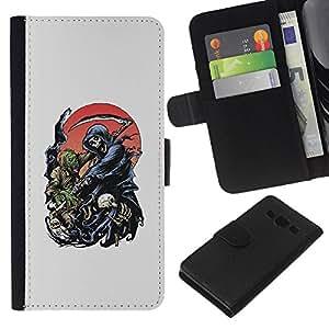 EJOY---La carpeta del tirón la caja de cuero de alta calidad de la PU Caso protector / Samsung Galaxy A3 / --Grim Reaper Death Scythe Maiden
