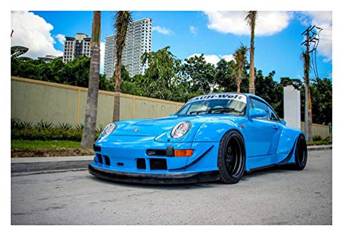Porsche 993 Wide Body Coupe by RWB Tuner Car Print on 10 Mil Archival Satin Paper Blue Front Side Static View ()