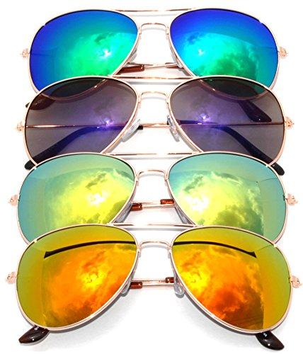 Classic Metal Aviator Sunglasses Mirror Lens Gold Color Frame 4 Pairs OWL. - Classic Metal Aviator Sunglasses