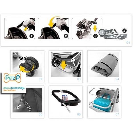 Amazon.com : CARRIOLA para MASCOTAS PET ZIP A701 MONOGRAM PET JOGGER (Black) : Pet Carrier Strollers : Pet Supplies