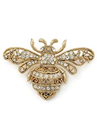 Large Gold Plated Filigree, Swarovski Crystal 'Bumble Bee' Brooch - 70mm Width