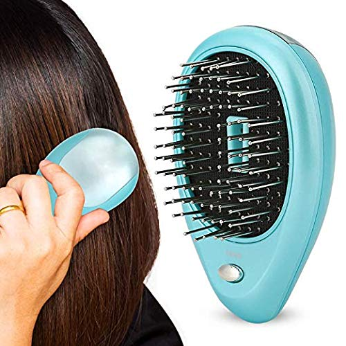 Electric Ionic Hairbrush Mini Anti-Static Scalp Head Massage Comb for Hair Care Hair Growth(Blue)