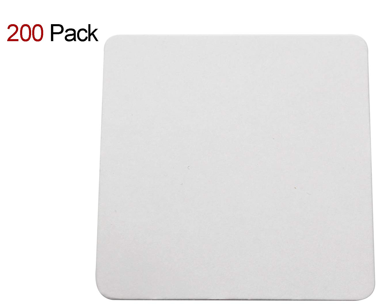 Travelwell Square 4-inch Length and Width Thicker (0.8 MM) Non Slip Drink White Paper Coaster Set – Set of 200