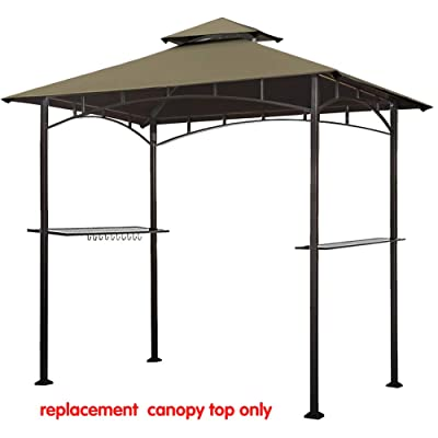 Eurmax 5FT x 8FT Double Tiered Replacement Canopy Grill BBQ Gazebo Roof Top Gazebo Replacement Canopy Roof(Cocoa) : Garden & Outdoor