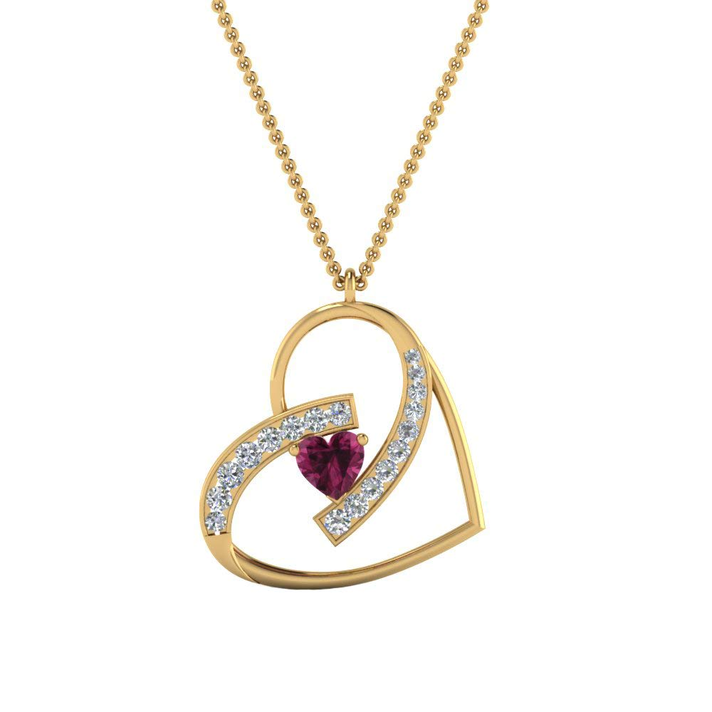Dividiamonds Swirl Heart Pendant W// 18 Chain 0.75 Ct Heart Cut Pink /& D//VVS1 Diamond 14K Gold Plated 925