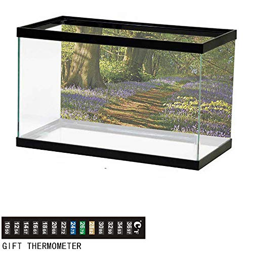 wwwhsl Aquarium Background,Woodland,Carpet of Bluebells Spreads Through Woodland in Staffordshire England,Green Purple Brown Fish Tank Backdrop 48