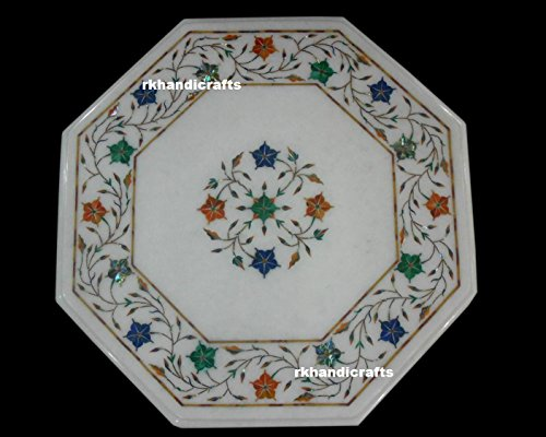 Octagon Marble End Table Top Inlay Work with Semi Precious Stone Royal Look to Your Lifestyle ()