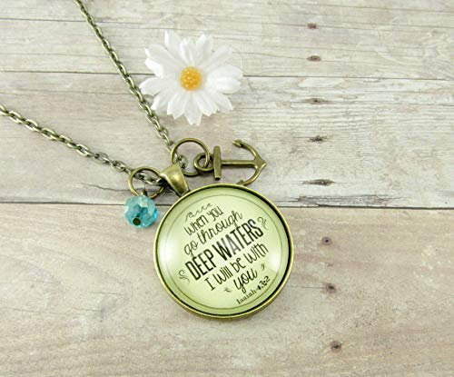 When You Go Through Deep Waters Isaiah 43:2 Christian Necklace 24″, Bronze Round Glass 1.20″ Vintage Style Pendant Faith Jewelry Anchor Charm, Blue Glass Bead