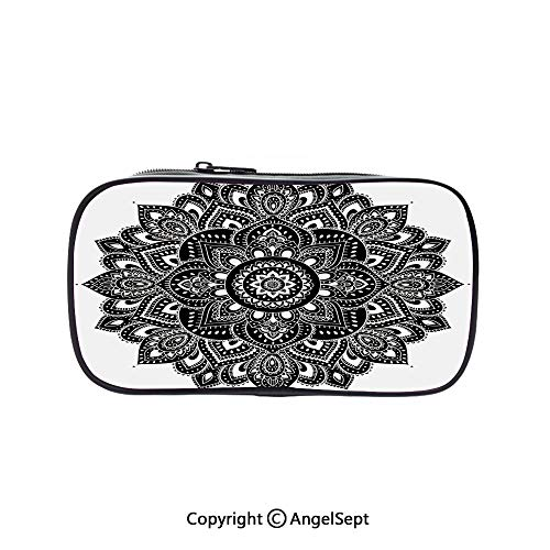 Pencil Holder with Handle Strap Handy Colored,Ethnic Floral Ornament with Far Eastern Art Motifs Ancient Cultures Vintage Style Black White 5.1inches,Large Capacity Students -