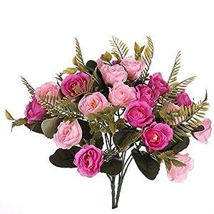 Aurdo Artificial Flowers,Fake SilkVintageRoseFlowersBouquet for Room,Kitchen,Garden,Wedding, PartyDecor (2 Pack) (Pink) 53