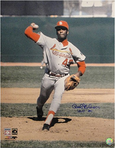 Bob Gibson Hand Signed Autographed 16x20 Photo Pitching St Louis Cards HOF 81 Hand Signed Pitching 16x20 Photograph