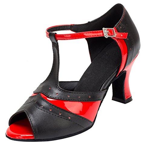TDA - Sandalias con cuña mujer 7cm Heel Black Red