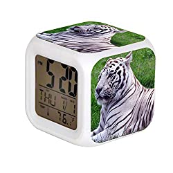 ALPERT Child 7 Color Change LED Digital Alarm Clock with Date Alarm Thermometer Desktop Table Cube Alarm Clock Night Glowing Flash Watch Toys White Tiger