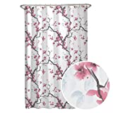 Pink and Red Shower Curtain MAYTEX Cherrywood Blossom Fabric Shower Curtain, Multi Floral, 70 inches x 72 inches