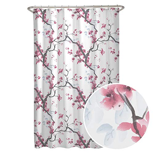 MAYTEX Cherrywood Blossom Fabric Shower Curtain, Multi Floral, 70 inches x 72 - Cherry Shower Blossom Curtain